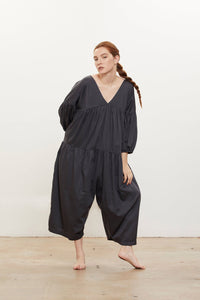 Black Crane Puff Jumpsuit