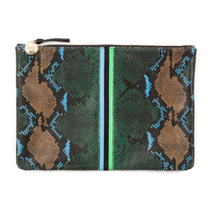 Clare V. Flat Clutch - Evergreen Snake