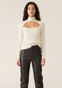 Ganni Alpaca Knit Top - Egret
