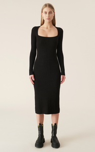 Ganni Melange Knit Dress - Chicory Coffee