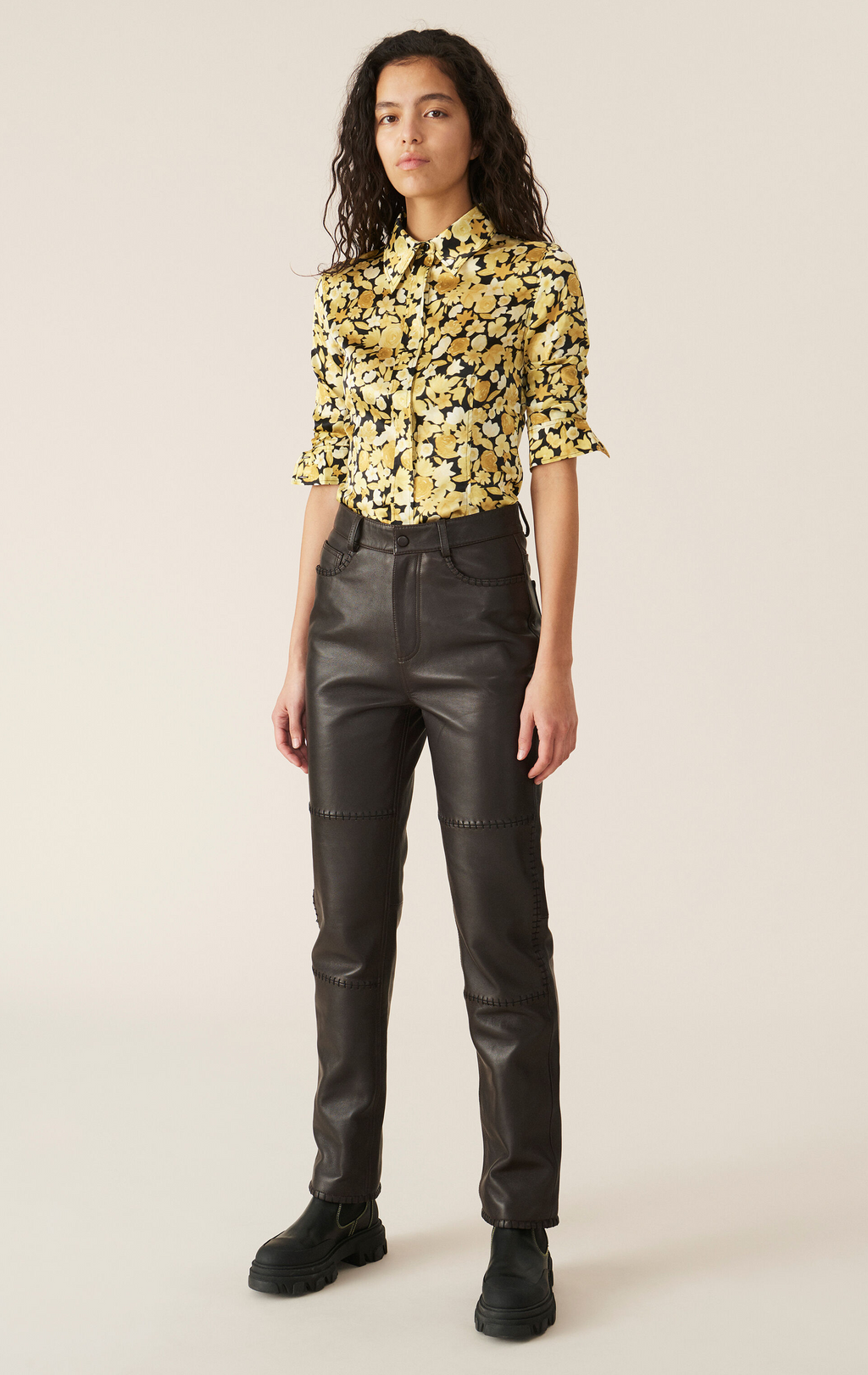 Ganni Stitch Leather Pants - Chicory Coffee