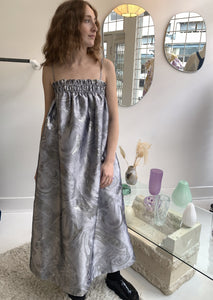 Ganni Shiny Jacquard Dress | Silver