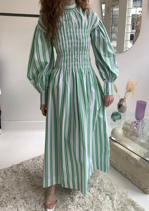 Ganni Stripe Cotton Dress | Kelly Green