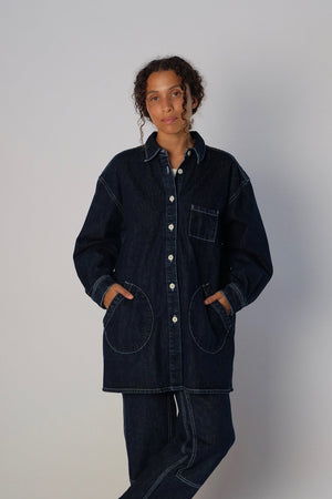 Jesse Kamm Okuda Jacket: Dark blue denim. Fall 2020. Gastown Shopping. New arrivals