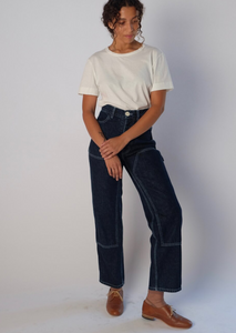 Jesse Kamm Patchfront Handy Pant: Dark Japanese denim. Fall 2020. Gastown Shopping