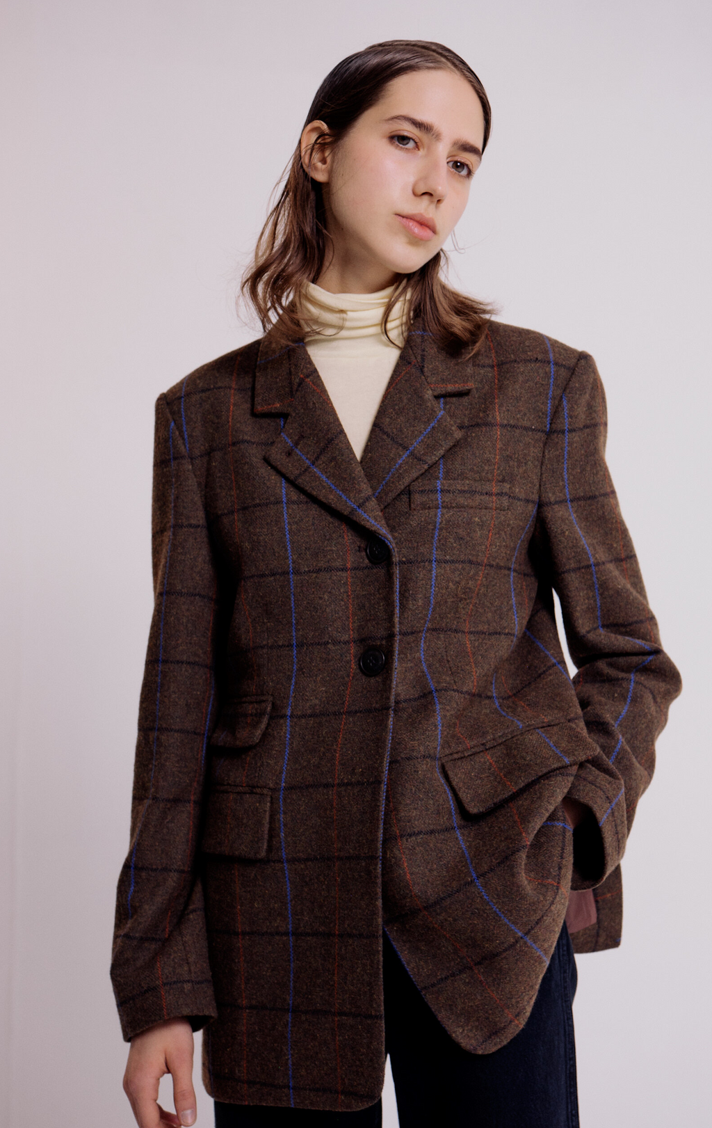 Mijeong Park Tailored Jacket - Brown Plaid