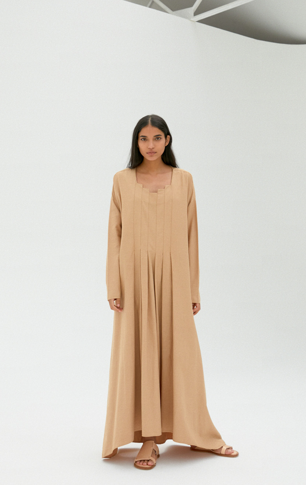 Monica Cordera Pleated Light Cotton Dress - Camel