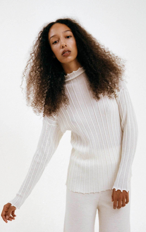 RUS notto sweater chalk. Fine ribbed knit crafted from a fine wool lyocell blend yarn. Fall winter 2020. Gastown shopping.