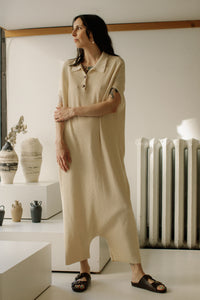Monica Cordera Ribbed Knit Jumpsuit - Natural