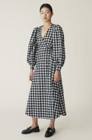 Ganni Seersucker Wrap Dress