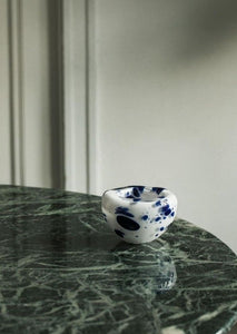 Bri Williams Blown Glass Bowl | Navy Speckled White