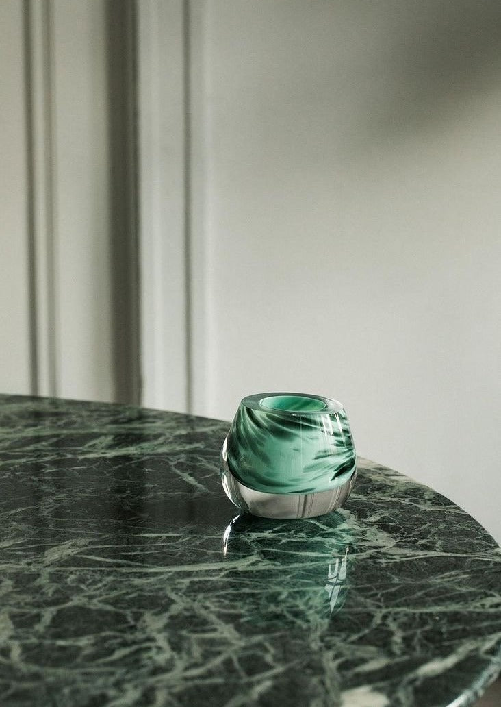 Bri Williams Blown Glass Dish | Green Speckled Mint