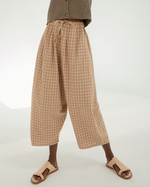 Monica Cordera Checkered Maxi Pants | Nougat