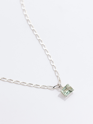 Faris Gem Necklace - Sterling Silver/Green Amethyst