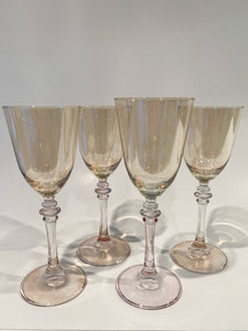 Ode Set of Four Pink and Yellow Wine Glasses