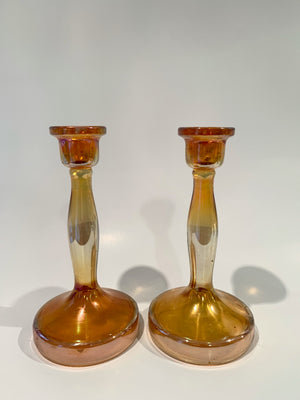 Ode Orange Carnival Glass Candlesticks