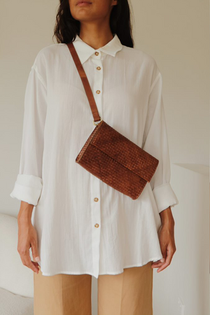 St. Agni Marcel Woven Belt Bag - Antique Tan