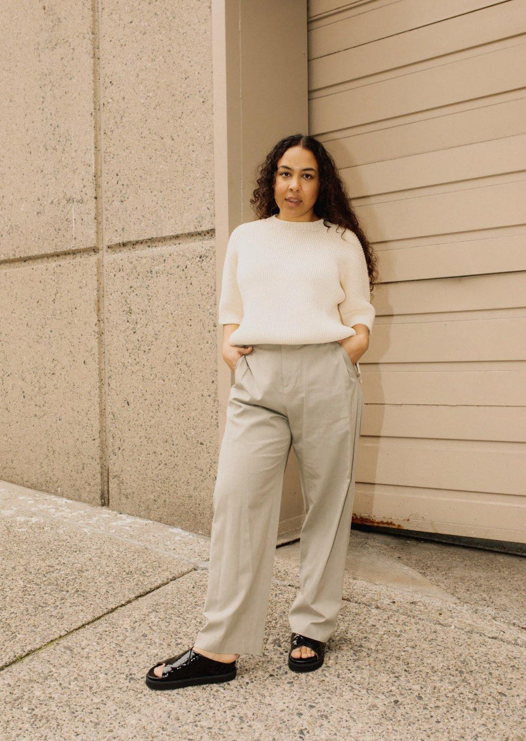 Amomento Cotton Wide Tuck Pant | Sage Green