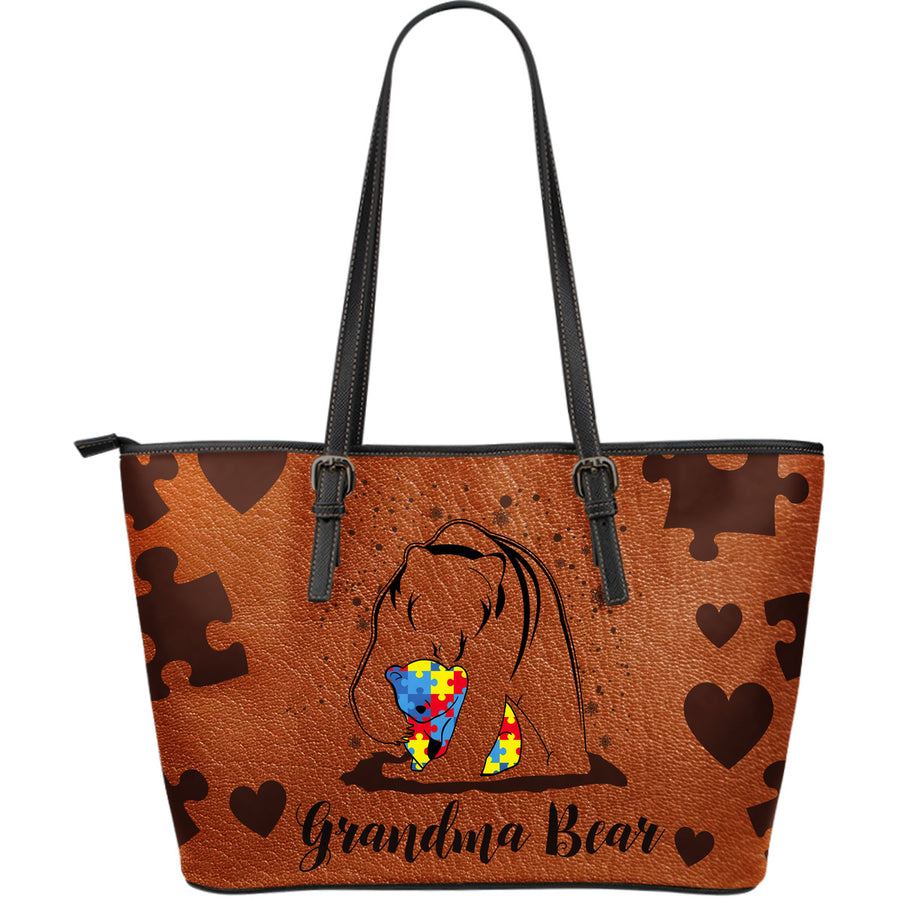 Autism Leather Bag : Grandma Bear