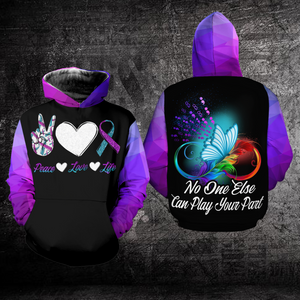Suicide Prevention Awareness Hoodie Full Print : Peace Love Life