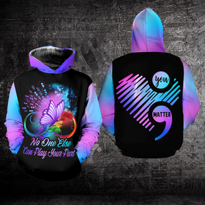 Suicide  Awareness Hoodie Full Print : Infinity Butterfly No One Else Can Place Your Part