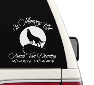 Wolf Personalized Sticker : In Loving Memory