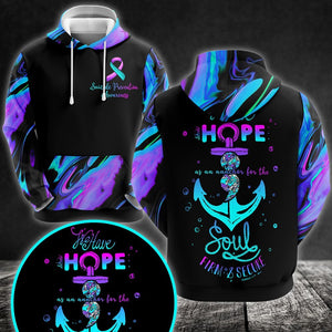 Prevention Awareness Hoodie Full Print : Life have hope as an anchor for the soul