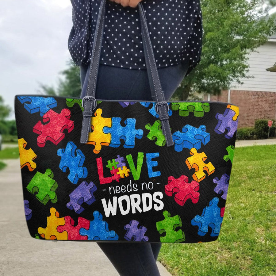 Autism Leather Bag: Love Need No Words