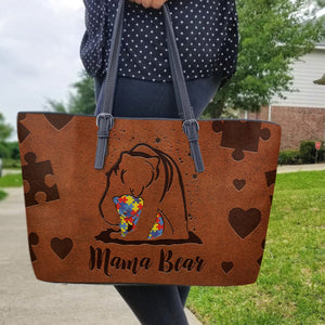 Autism Leather Bag: Mama Bear