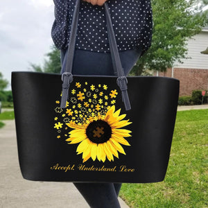 Autism Leather Bag: Accept understand Love