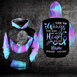 Personalized Suicide Prevention Awareness Hoodie 3D : Your Wings Were Ready But My Heart Was Not