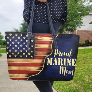 Proud Marine Mom Leather Bag