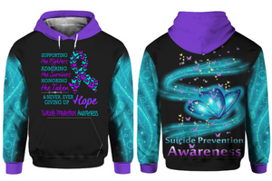 Suicide Prevention Awareness Hoodie Over Print : Supporting The Fighters