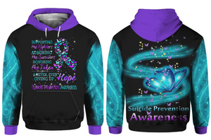 Suicide Prevention Awareness Hoodie Full Print For Merry Christmas