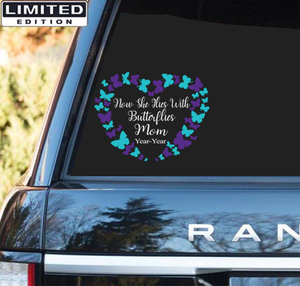 Personalized Dates Name Suicide Awarenesss Custom Sticker : Now She Flies With Butterfies Mom Year-Year