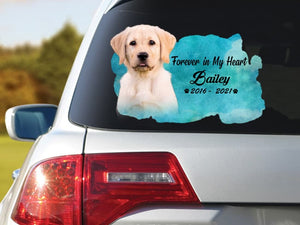 Personalized Photo Name Memorial Dog Sticker: Forever In My Heart