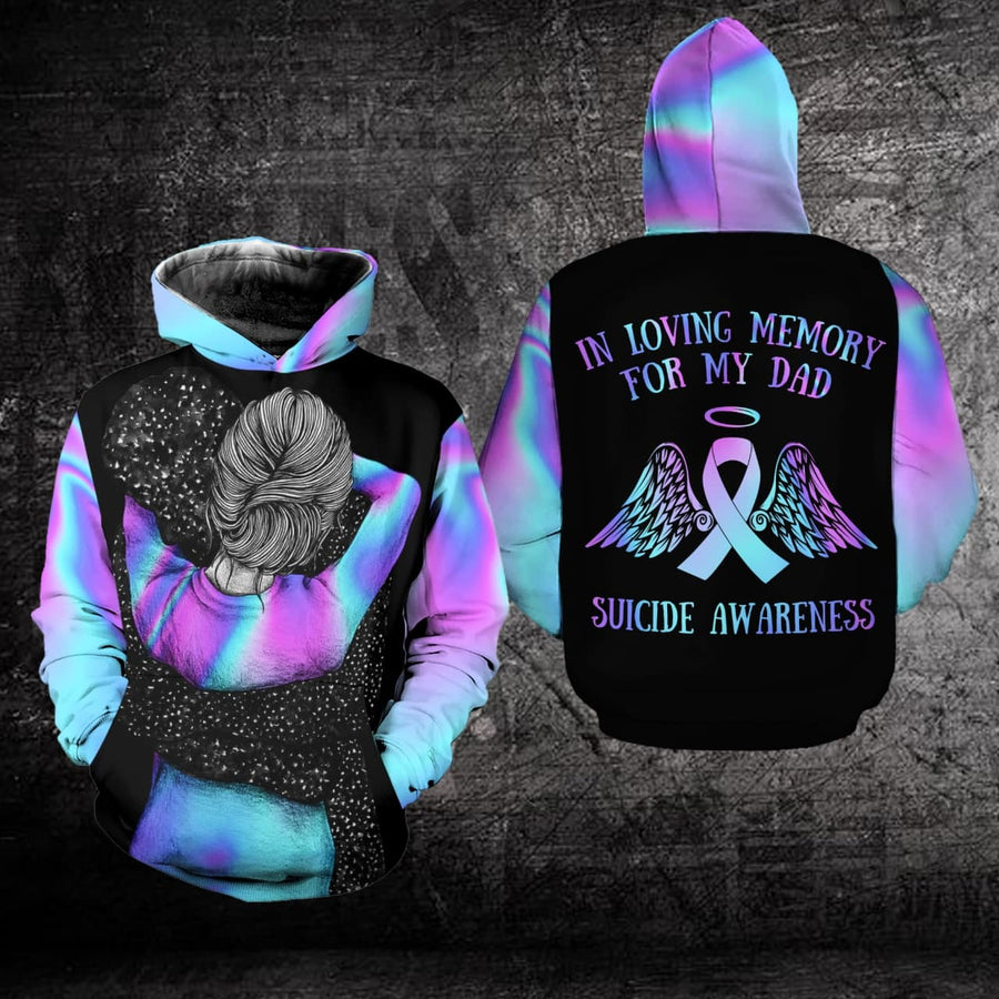 Suicide Prevention Awareness Hoodie Full Print : In Loving Memory For My Dad