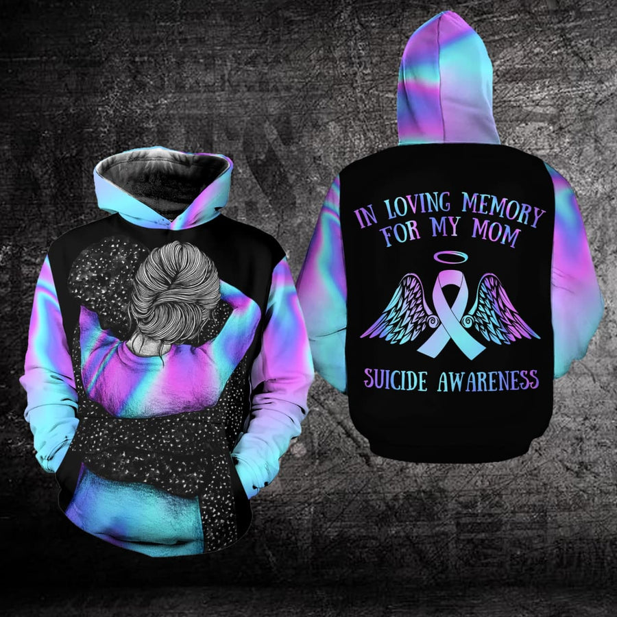 Suicide Prevention Awareness Hoodie Full Print : In Loving Memory For My Mom