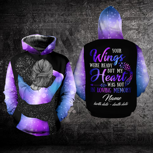 Personalized Name Dates Suicide Prevention Awareness Hoodie Full Print : Your Wings Were Ready