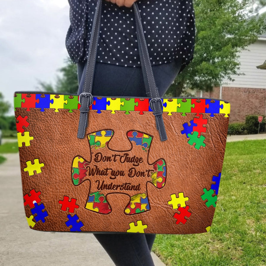 Autism Leather Bag: Don't Judge What You Don't Understand
