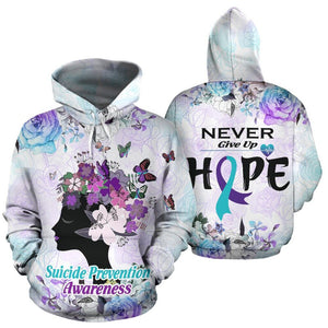 "Suicide Prevention Awareness Hoodie Full Print : Never Give Up ""Hope"""