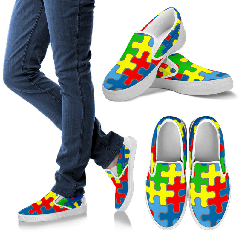 Autism Awareness Men's Slip Ons (White)