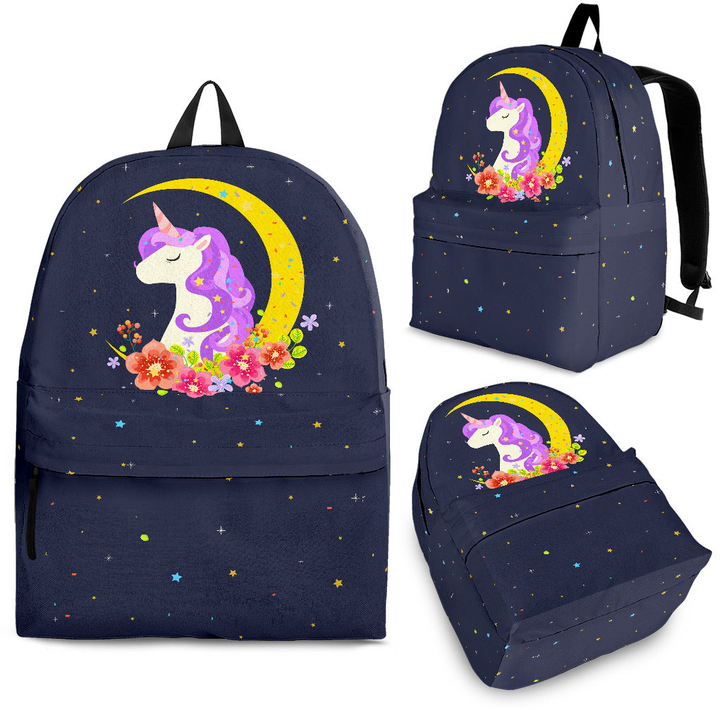 Dark Blue Starry Night Crescent Moon Unicorn Backpack