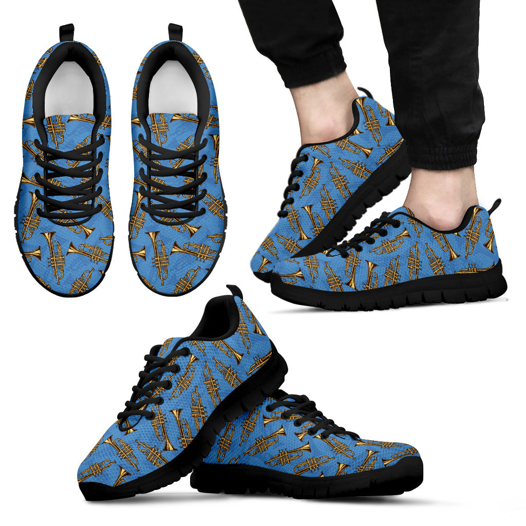 Trumpet Design Shoes. Mens Sneakers Black Sole
