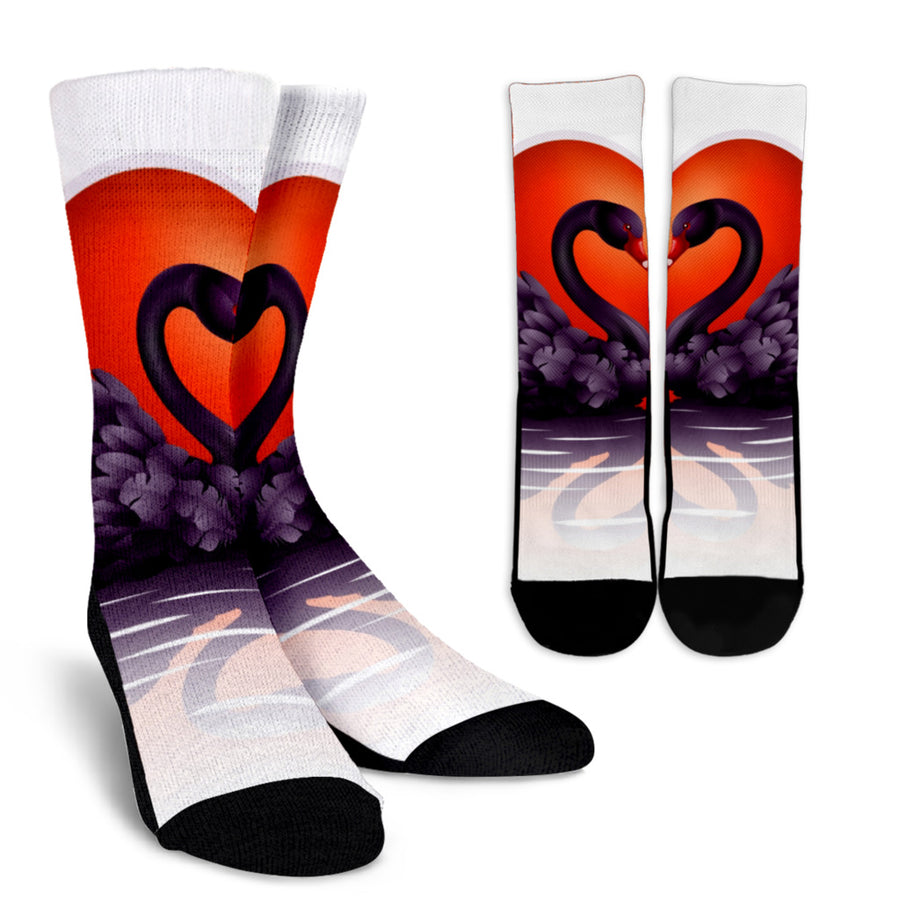 Swan Love Crew Socks - Black