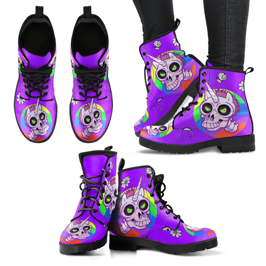 Zombie Unicorn Ladies Leather Look Boots
