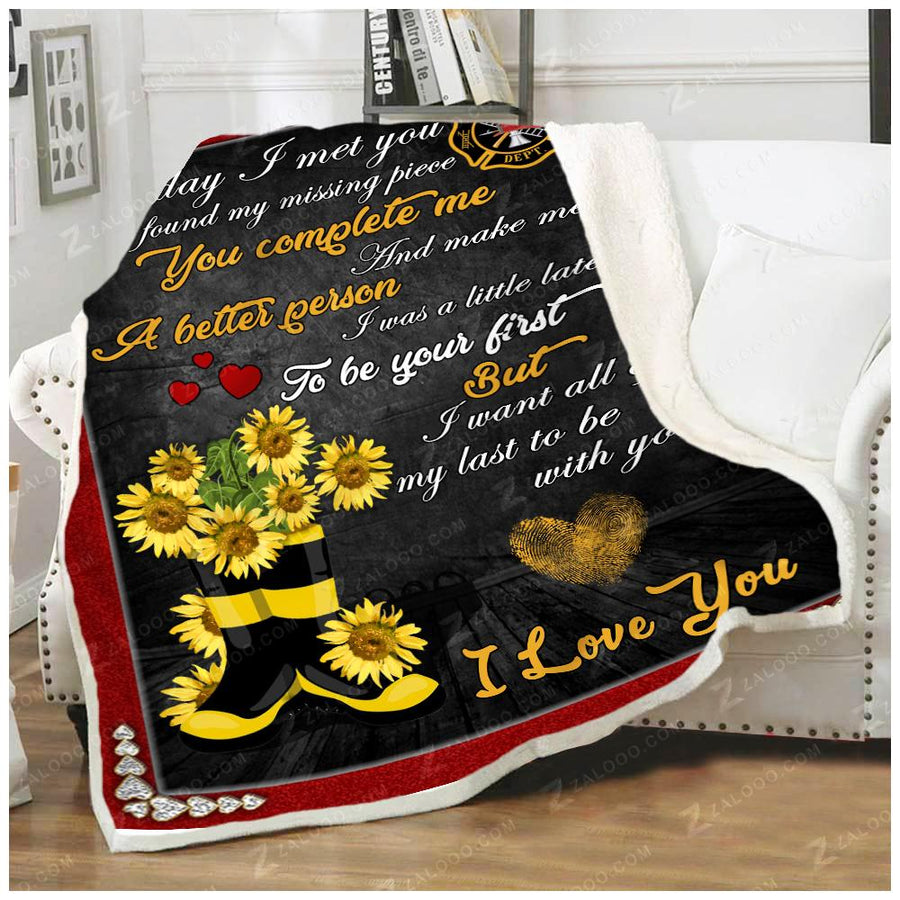 Firefighter - To my wife - Flower Boots Quilt Blanket EP2693