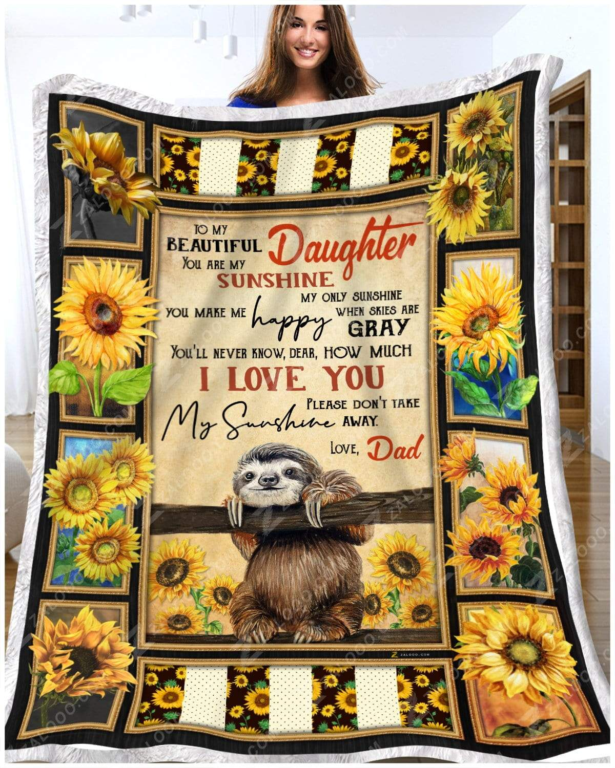 Sloth - You Are My Sunshine - Love Dad Quilt Blanket EP2263
