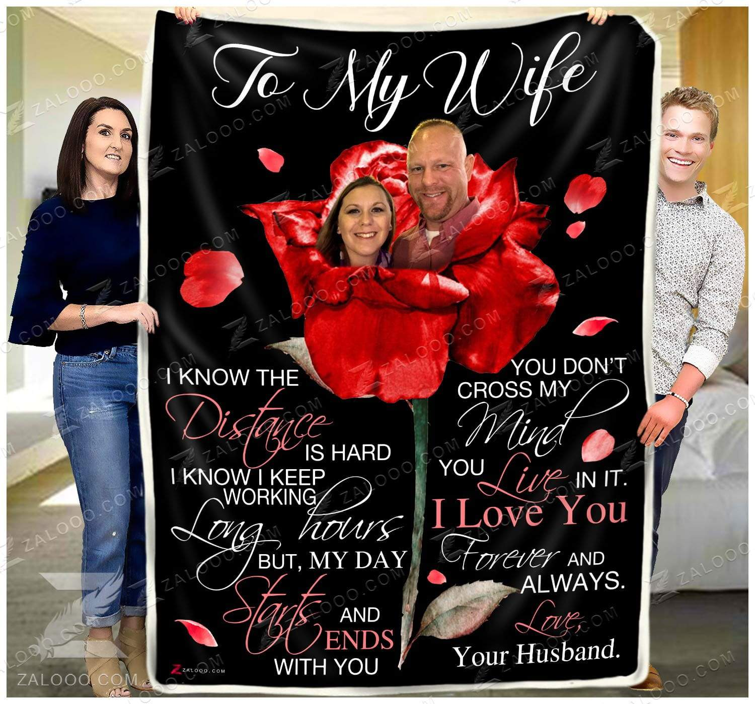 To my Wife - I know the distance Custom Quilt Blanket EP2757