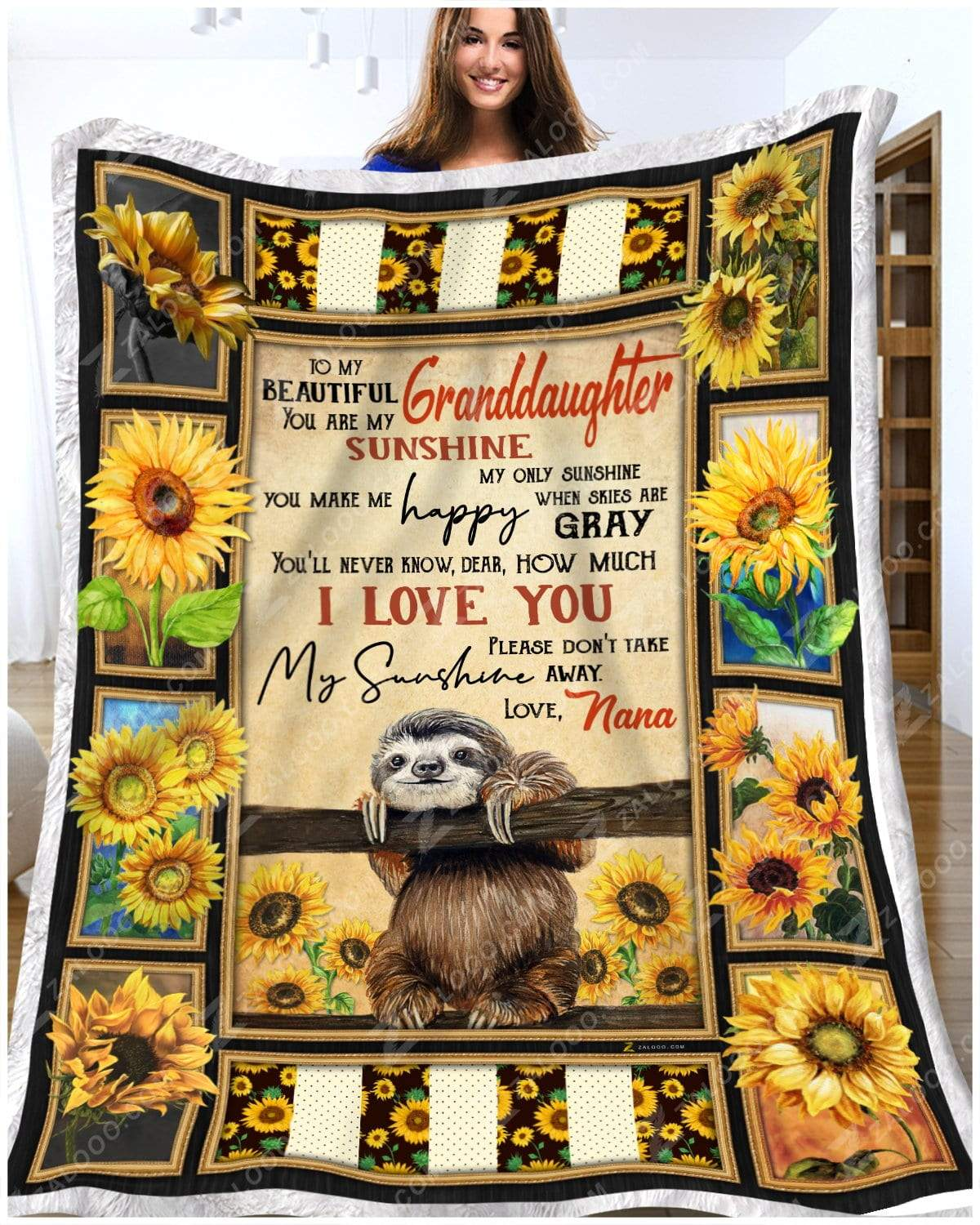 Sloth - To My Beautiful Granddaughter - Love Nana Quilt Blanket EP2861